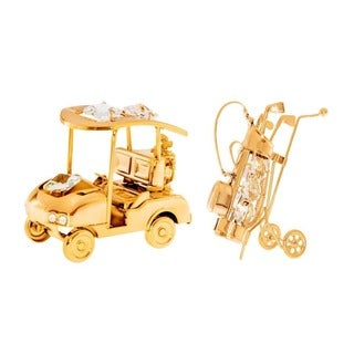 Matashi 24k Goldplated Golf Set Ornaments with Genuine Austrian Crystals