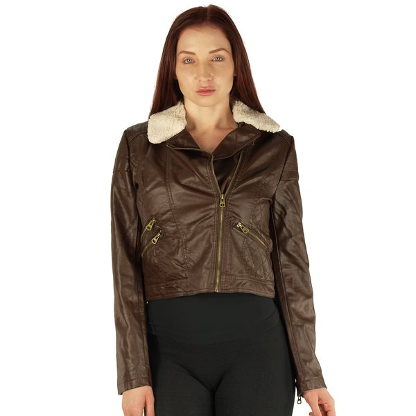 Ladies Zip Up PU Jacket with Fleece