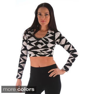 Ladies Long Sleeve Texture Fabric Crop Top