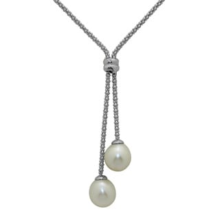 Gioelli Sterling Silver Freshwater Pearls Popcorn Chain Lariat Necklace