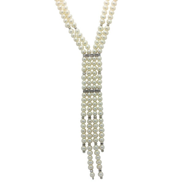 Gioelli Sterling Silver 4-5mm Freshwater Pearls CZ Y Necklace