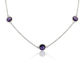 Sterling Silver Briolette Purple Amethyst 24 Inch Station Necklace