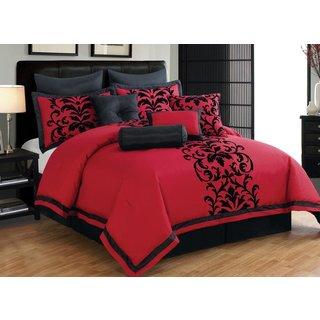 Luxurious Red Flocking Damask 10-piece Comforter Set