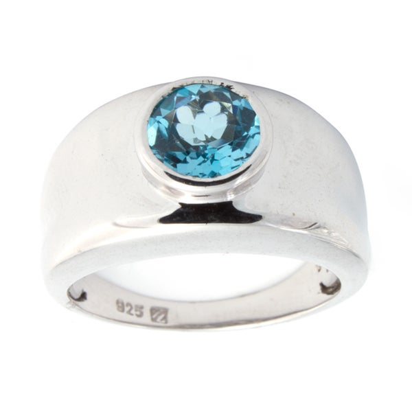Sterling Silver 1ct Bezel Set Blue Topaz Ladies Cocktail Fashion Ring