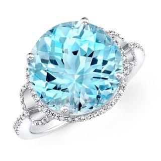 14k White Gold Round-cut Gemstone 1/4ct TDW Diamond Cocktail Ring (I-J, I1-I2)