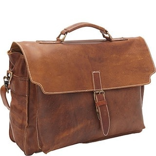 Sharo Soft Brown Leather 16-inch Laptop Messenger Briefcase