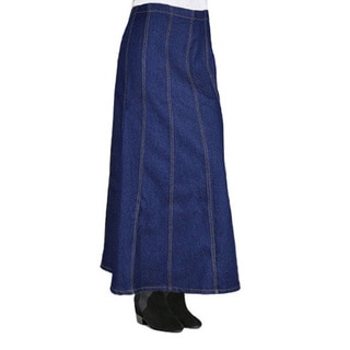 Tabeez Women's Plus Size Paneled Long Denim Skirt