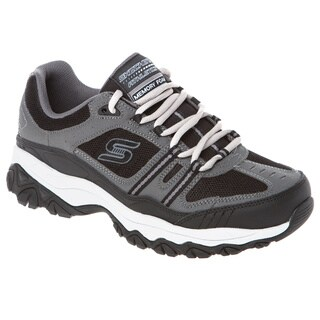 Skechers USA Memory Foam Footbed Leather/ Mesh Overlay Lace Up Sneaker