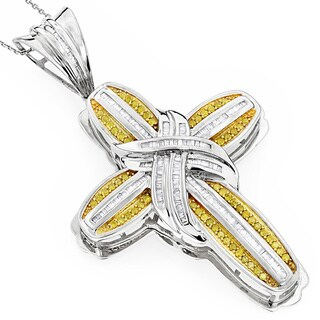 Luxurman 14k Yellow 2 1/2ct TDW Diamond Men's Cross Necklace (SI1-SI2)