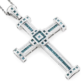 Luxurman 14k Gold Men's 3ct TDW White and Blue Diamond Cross Pendant (H-I, SI1-SI2)