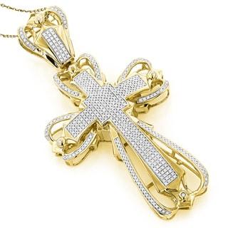 Luxurman 10k Gold Men's 2 1/8ct TDW Diamond Cross Pendant (G-H, SI1-SI2)