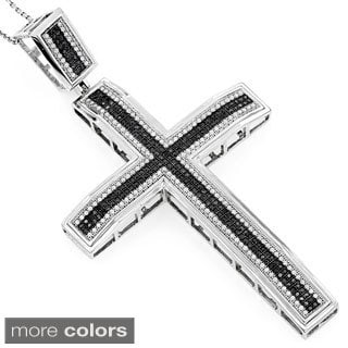 Luxurman 10k Yellow or White Gold 1 1/3ct TDW Black Diamond Cross Pendant