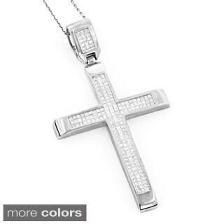 Luxurman 14k White or Rose Gold 3 2/3ct TDW Invisible Set Princess-cut Diamond Cross Pendant (G-H, SI1-SI2)