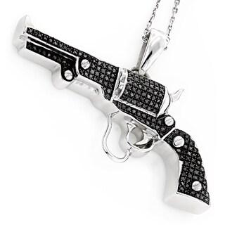 Luxurman Sterling Silver 1ct TDW Black Diamond Gun Pendant
