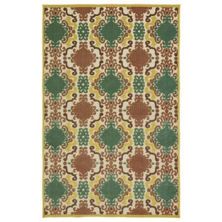 Indoor/Outdoor Luka Gold Damask Rug (8'8 x 12'0)
