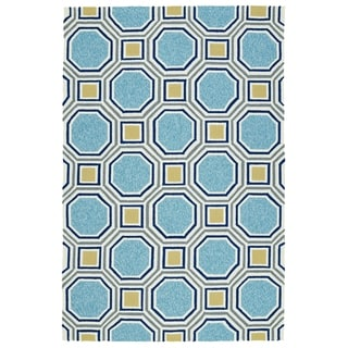 Indoor/Outdoor Handmade Getaway Blue Rug (8'0 x 10'0)