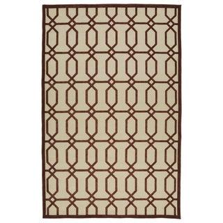 Indoor/Outdoor Luka Terracotta Geo Rug (5'0 x 7'6)