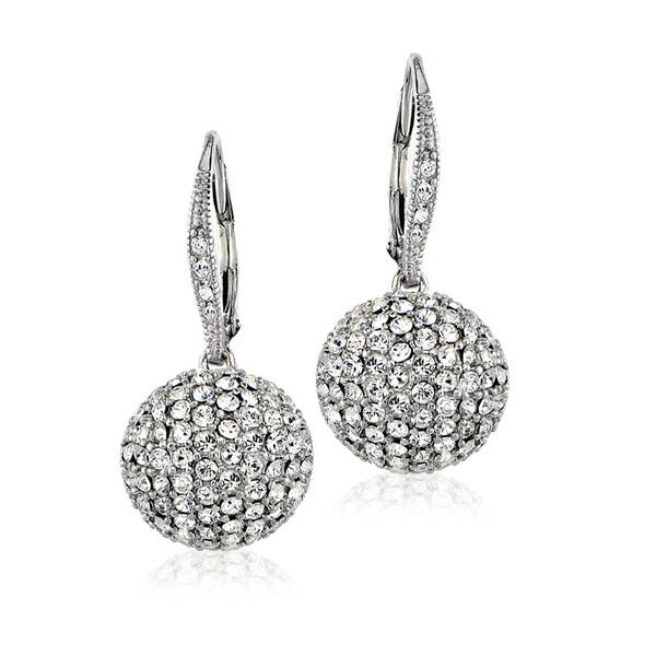 Crystal Ice Silvertone Swarovski Elements Ball Drop Leverback Earrings