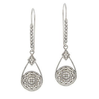 DB Designs Sterling Silver Diamond Accent Bar and Teardrop Dangle Earrings