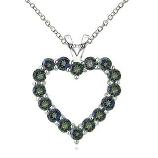 Glitzy Rocks Sterling Silver 3 4/5ct TGW Green Mystic Topaz Open Heart Necklace