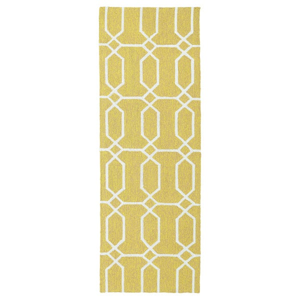 Indoor/Outdoor Handmade Getaway Gold Links Rug (2'0 x 6'0)
