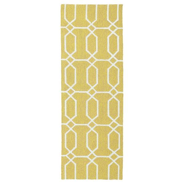 Indoor/Outdoor Handmade Getaway Gold Links Rug (2'0 x 6'0)