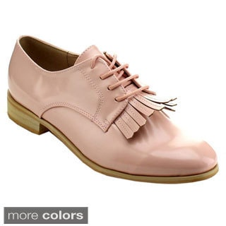 Miim Women's Fiona-03 Stylish Lace-up Fringe Oxfords