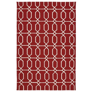Indoor/Outdoor Handmade Getaway Red Links Rug (9'0 x 12'0)