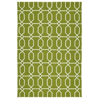 Indoor/Outdoor Handmade Getaway Apple Green Links Rug (8'0 x 10'0)
