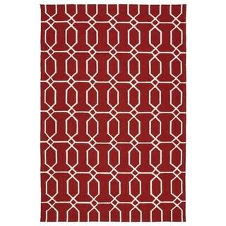 Indoor/Outdoor Handmade Getaway Red Links Rug (4'0 x 6'0)