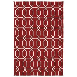 Indoor/Outdoor Handmade Getaway Red Links Rug (8'0 x 10'0)
