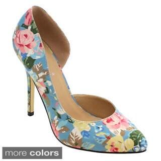 Miim Women's Melody-01 Floral Print Stiletto Dorsay Pump