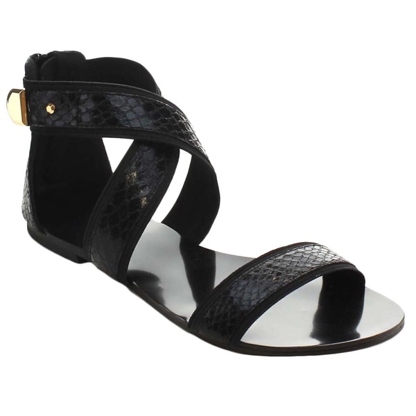 Miim Women's Icon-01 Cross Ankle Flat Sandals