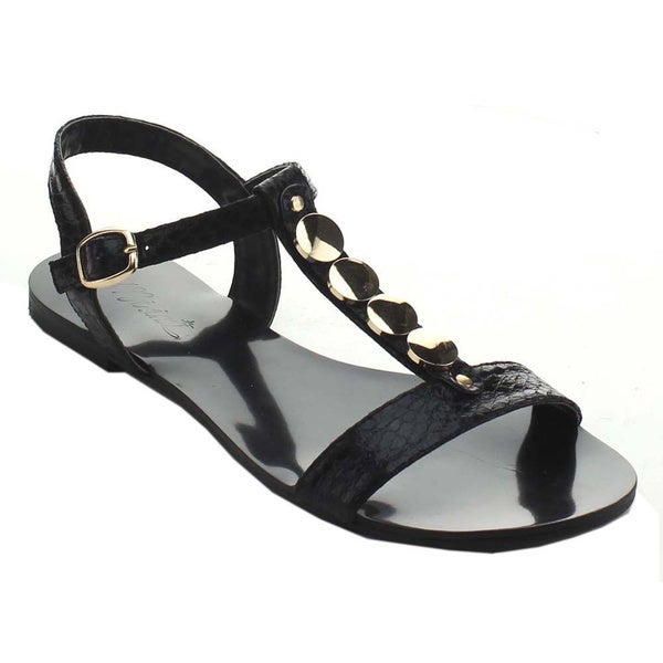 Miim Women's Icon-02 Jelly Metallic Rhinestone T-Strap Sandals