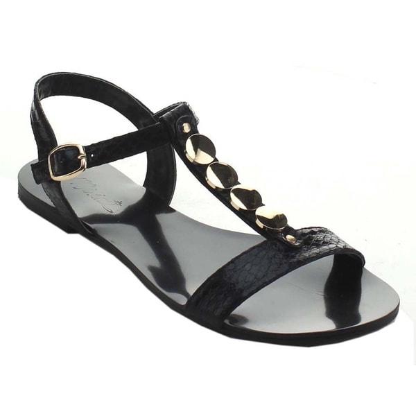 Miim Women's Icon-02 Jelly Metallic Rhinestone T-Strap Sandals