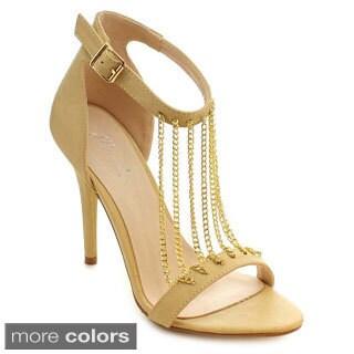 Miim Women's Olivia-01 Sexy Metal Chain Stiletto Heels