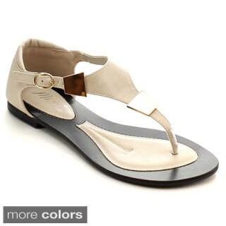 Miim Women's Infinity-01 Adjustable Ankle Buckle Flat Sandals