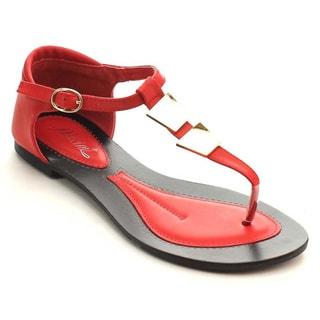 Miim Women's Infinity-02 Metal Flat Thong Sandal