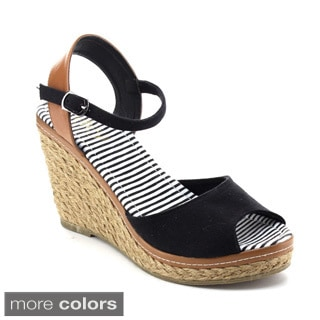 Refresh Women's Bypass-01 Ankle Strap Slingback Espadrille Wedges
