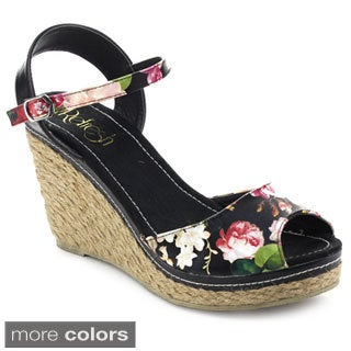 Refresh Women's Bypass-02 Ankle Strap Floral Slingback Espadrille Wedges