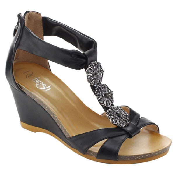 Refresh Women's Passion-02 T-Strap Metallic Flower Back Zip Wedges