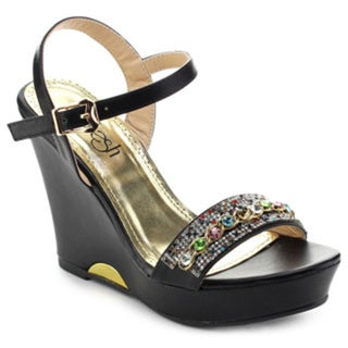 Refresh Women's Patra-01 Bejeweled Vamp Strap Platform Ankle Strap Wedges