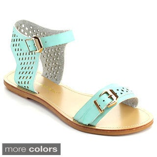 Chase and Chloe Women's Joey-9 Ankle Strap Double Metal Buckle Sandals