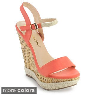 Chase and Chloe Women's Lauren-2 Woven Sole Ankle Strap Wedges