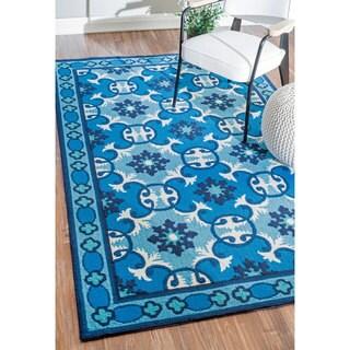 nuLOOM Handmade Modern Fancy Floral Geometric Blue Rug (7'6 x 9'6)