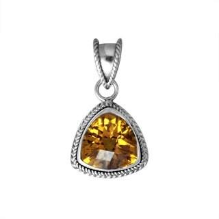 Handmade .925 Sterling Silver Gemstone Bali Bead Motif Pendant (Indonesia)