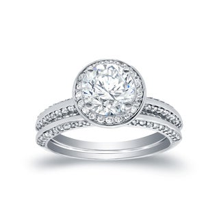 Auriya 14k White Gold 2ct TDW Round Halo Bridal Ring Set (H-I, SI1-SI2)