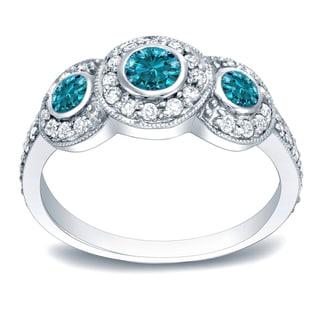 Auriya 14k White Gold 1ct TDW 3-Stone Round Bezel Diamond Ring (Blue, I1-I2)