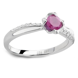 925 Sterling Silver Genuine Round Ruby and Cubic Zirconia Ring