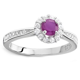 925 Sterling Silver Round Ruby and Cubic Zirconia Ring